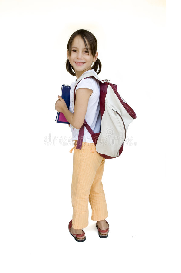 Rapariga pronta para a escola foto de stock