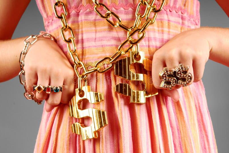 Rapariga que desgasta a jóia de Hiphop foto de stock