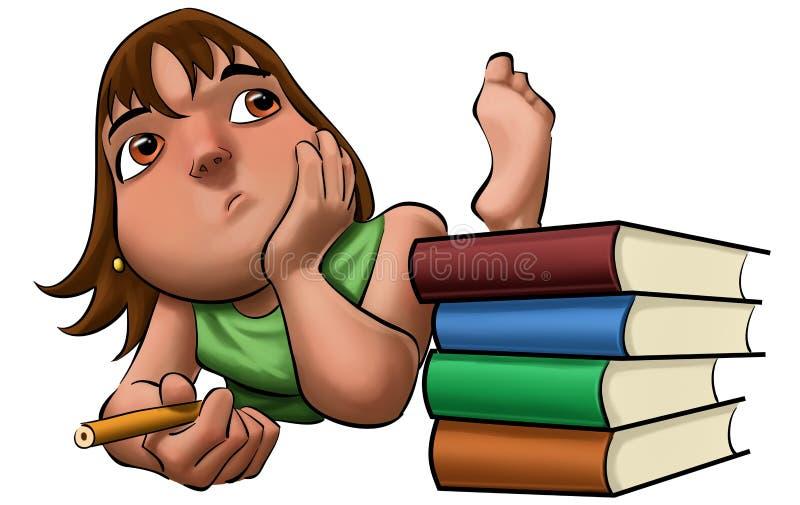 A rapariga que estuda a sua examinação ilustração do vetor