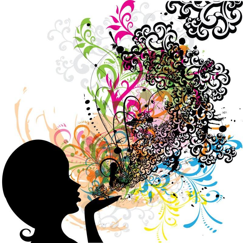 Rapariga que funde floral abstrato ilustração do vetor