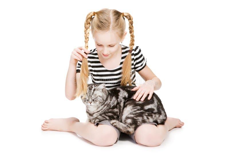 Rapariga que levanta com o gato britânico do shorthair fotografia de stock royalty free