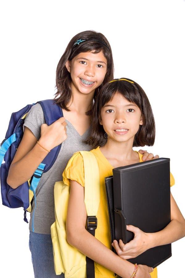 Raparigas prontas para atender à escola fotos de stock royalty free