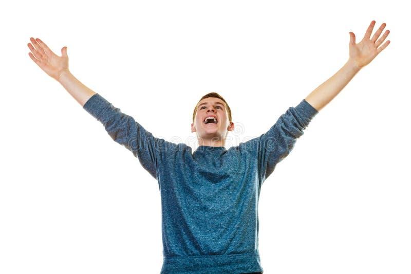Rapaz bem sucedido do homem feliz com braços acima fotografia de stock royalty free