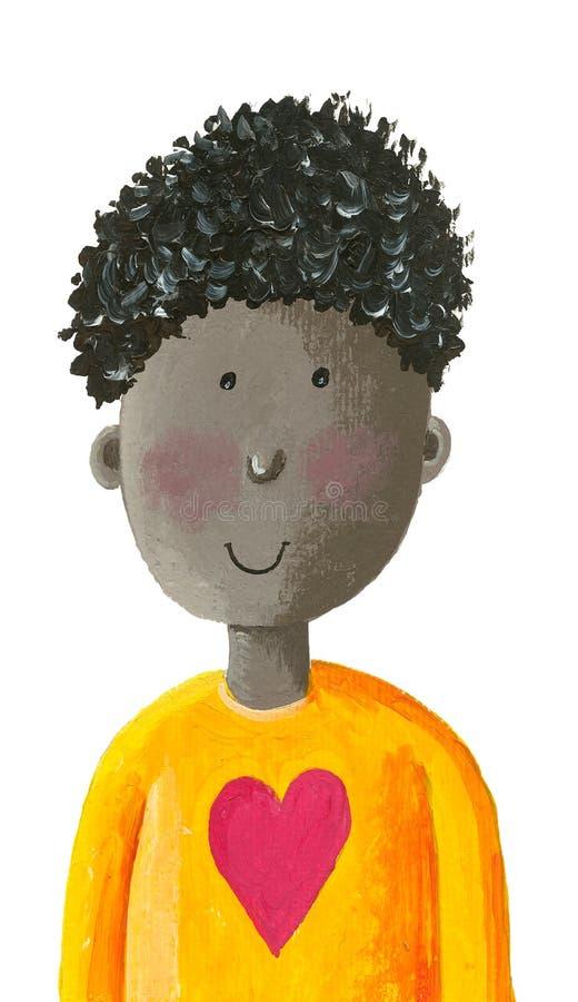 Rapaz pequeno afro-americano bonito em uma camisa com um coração ilustração stock