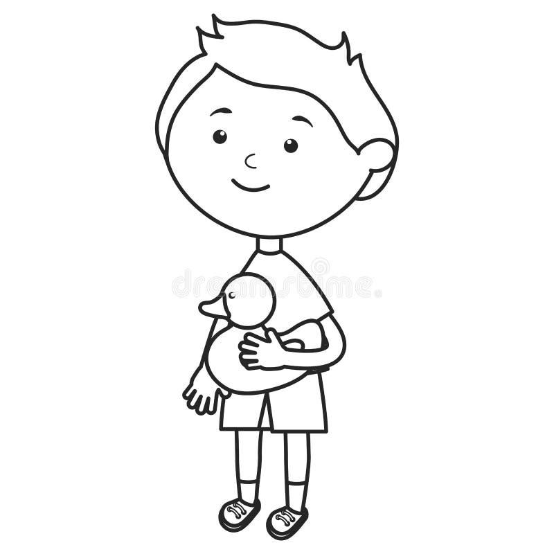 Rapaz pequeno bonito com ducky ilustração royalty free