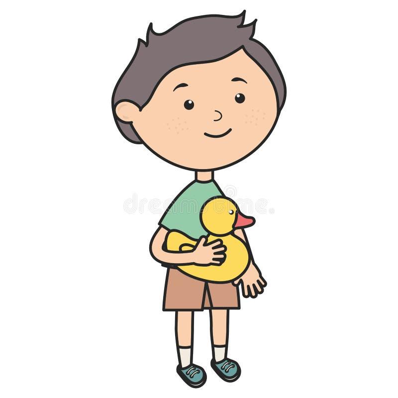 Rapaz pequeno bonito com ducky ilustração stock