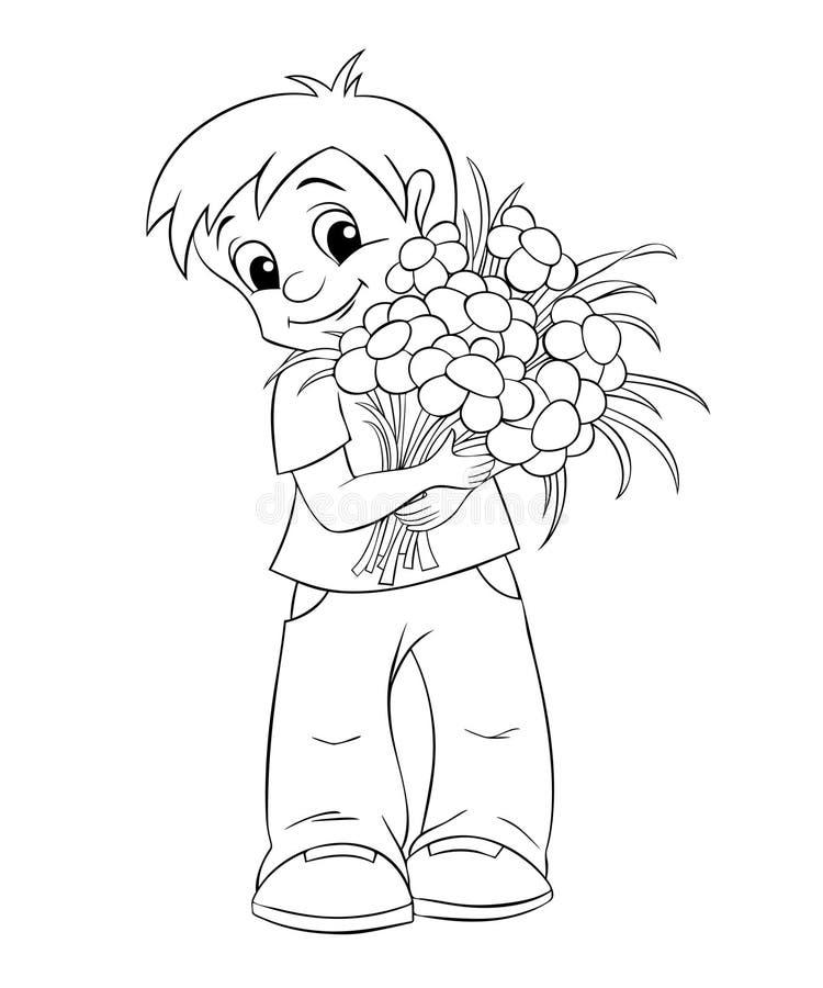 Rapaz pequeno bonito com ramalhete ilustração stock