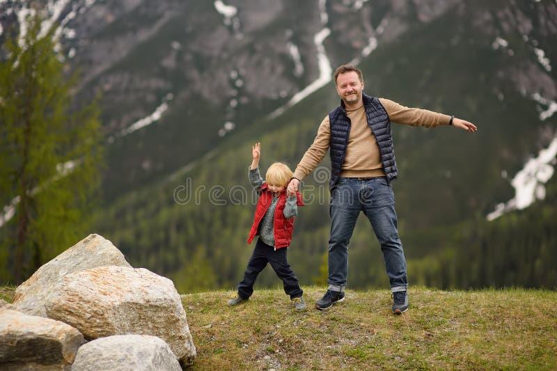 Rapaz pequeno bonito e suas caminhadas do pai no parque nacional suíço na mola Caminhada com crianças Situação perigosa: estar so imagem de stock