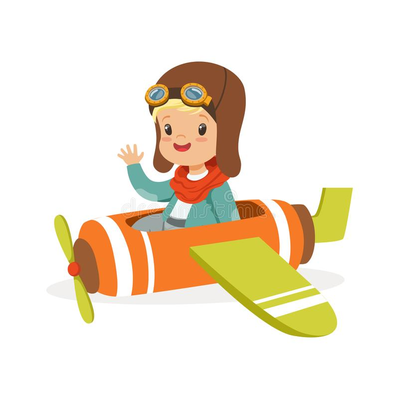 Rapaz pequeno bonito no plano piloto do brinquedo do voo do traje, criança que sonha de pilotar a ilustração do vetor plano ilustração stock