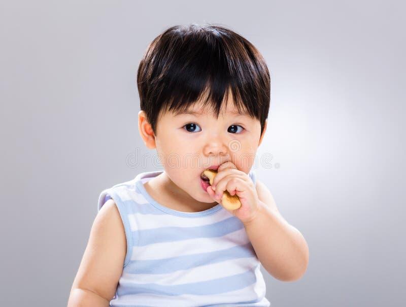 Rapaz pequeno bonito que come a cookie foto de stock royalty free