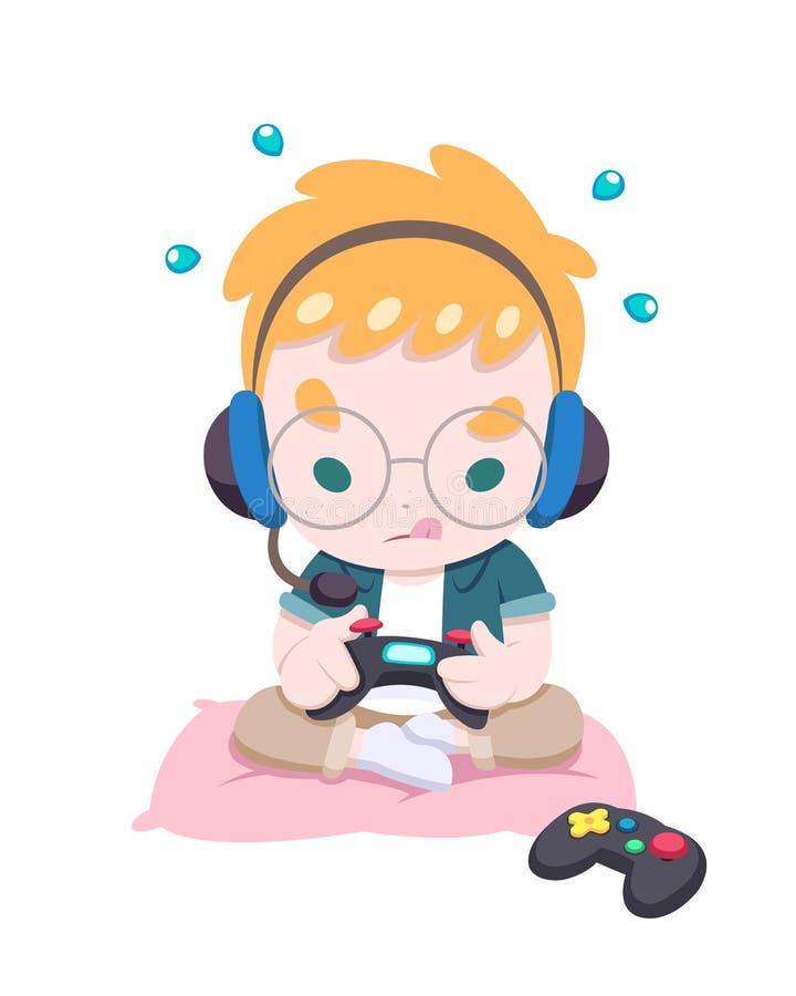Rapaz pequeno bonito que joga a ilustração do vetor do jogo ilustração stock