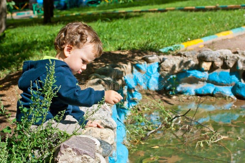 Rapaz pequeno bonito que joga perto da lagoa foto de stock
