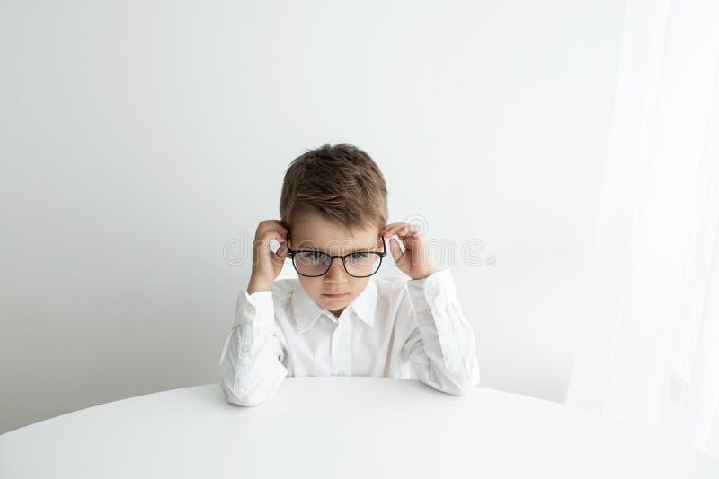 Rapaz pequeno bonito que usa o port?til ao fazer trabalhos de casa contra o fundo branco imagem de stock royalty free