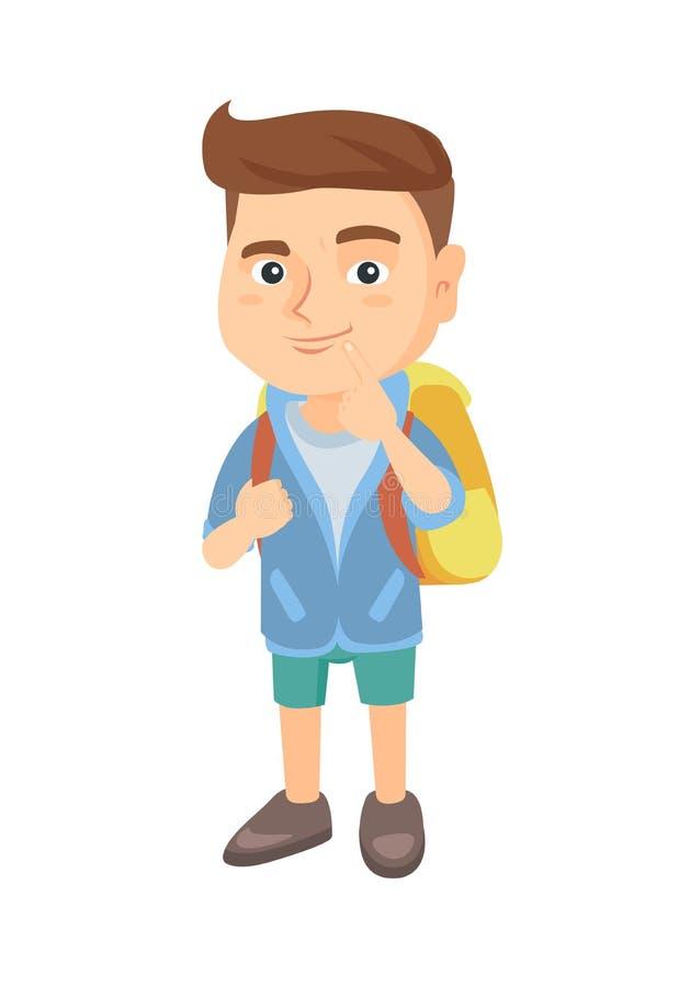 Rapaz pequeno caucasiano com pensamento do saco de escola ilustração royalty free