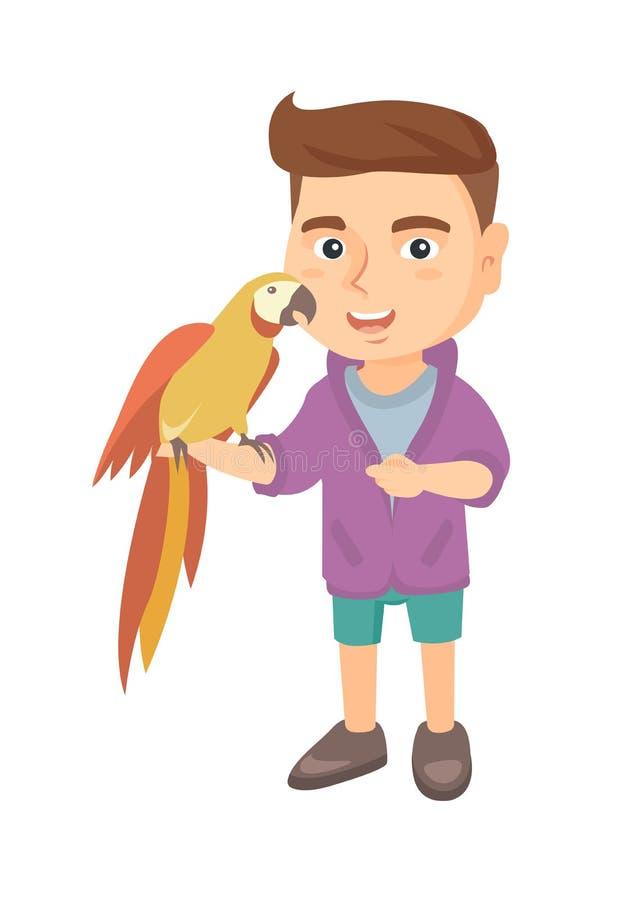 Rapaz pequeno caucasiano que guarda o papagaio em sua mão ilustração royalty free