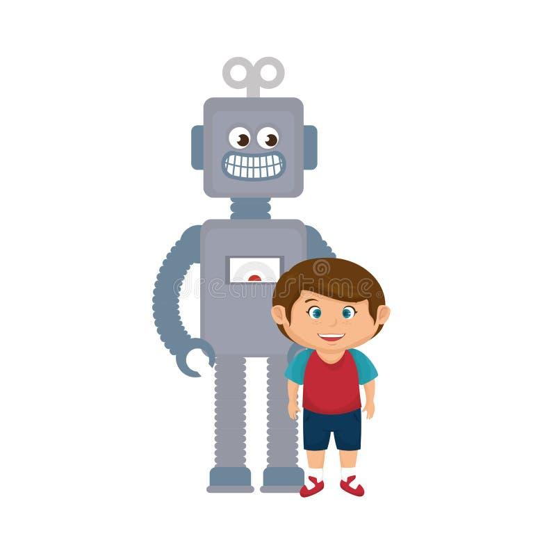 Rapaz pequeno com brinquedo do robô ilustração royalty free