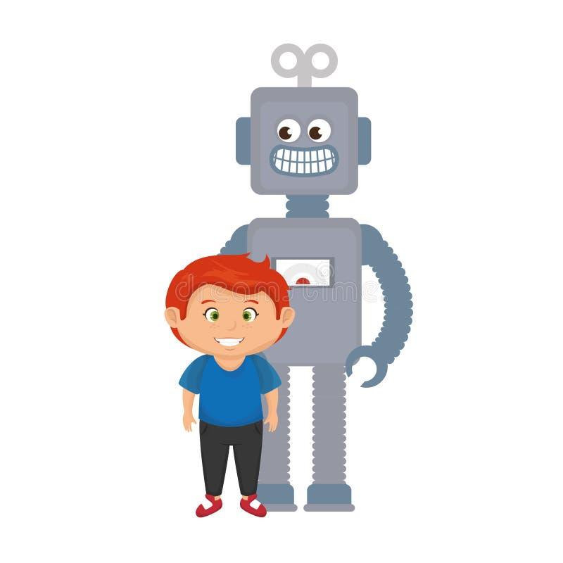 Rapaz pequeno com brinquedo do robô ilustração stock