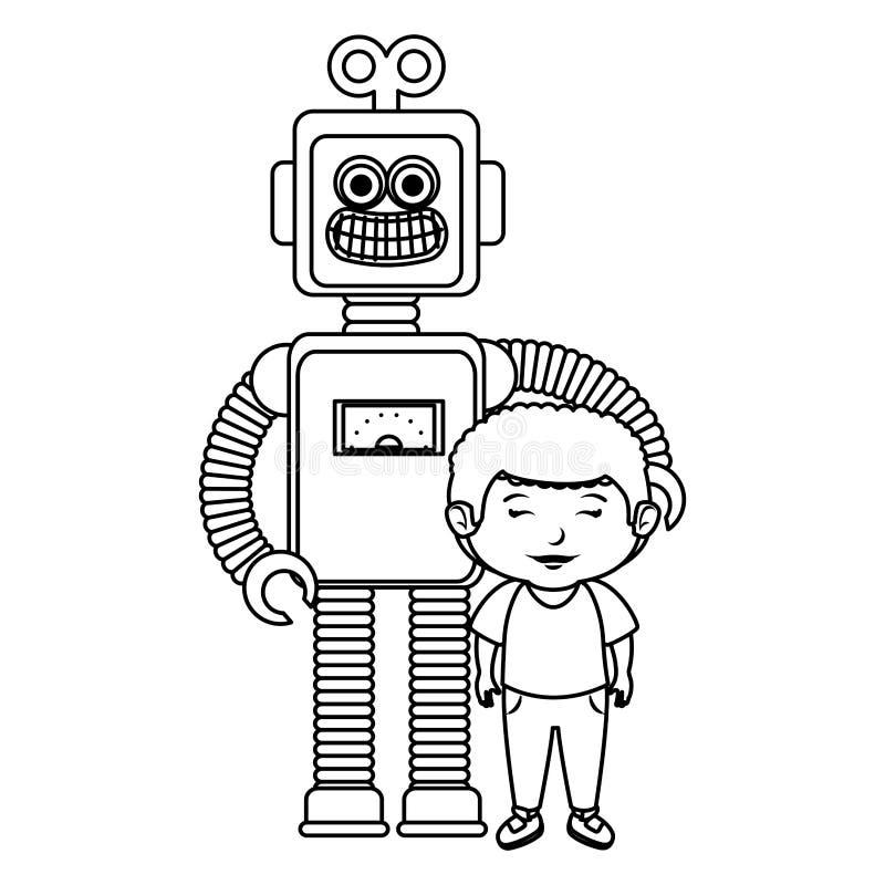 Rapaz pequeno com brinquedo do robô ilustração do vetor