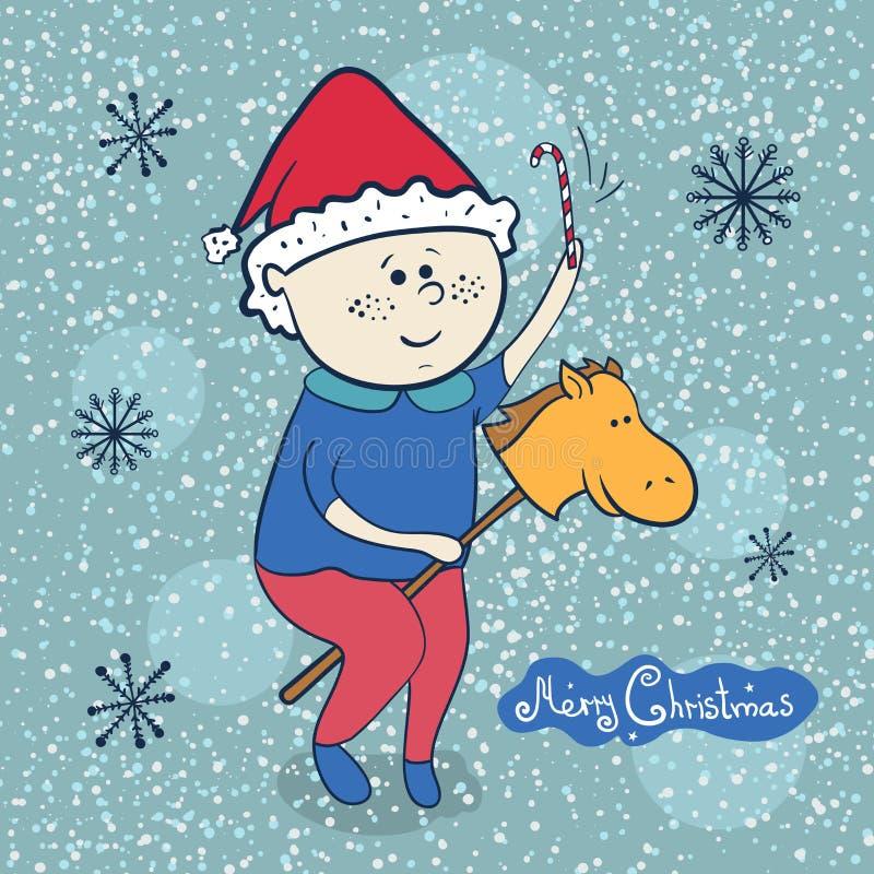 Rapaz pequeno com cavalo do brinquedo, ilustrações do Natal ilustração royalty free