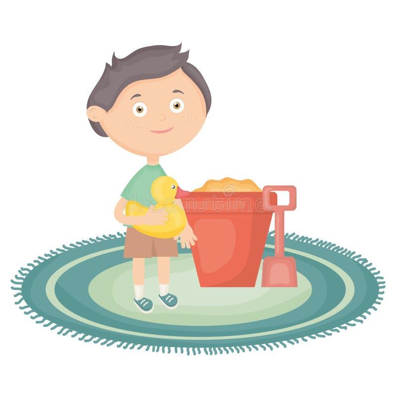 Rapaz pequeno com cubeta da areia e ducky bonitos ilustração royalty free