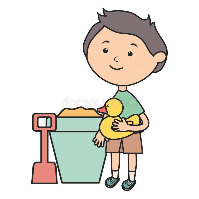 Rapaz pequeno com cubeta da areia e ducky bonitos ilustração stock