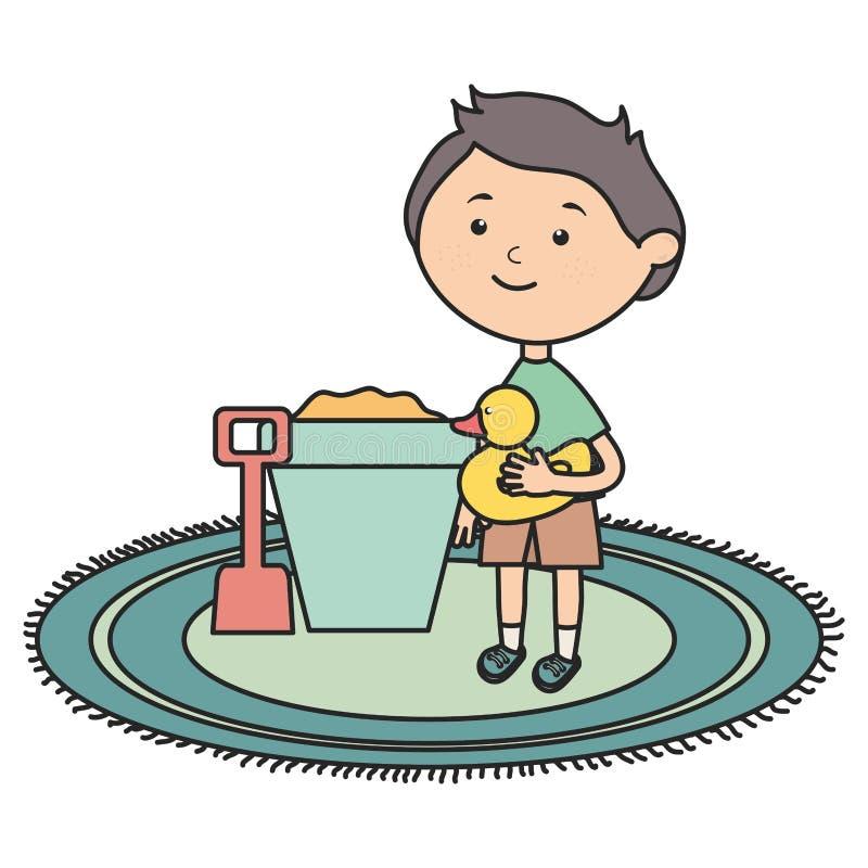 Rapaz pequeno com cubeta da areia e ducky bonitos ilustração do vetor