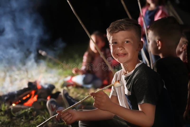 Rapaz pequeno com o marshmallow perto da fogueira na noite imagens de stock