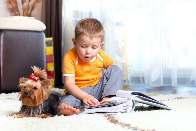 Rapaz pequeno com o terrier de Yorkshire do cão foto de stock