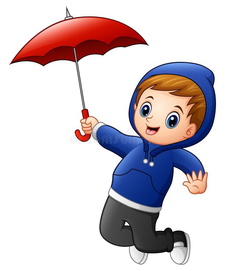 Rapaz pequeno com salto vermelho do guarda-chuva ilustração stock