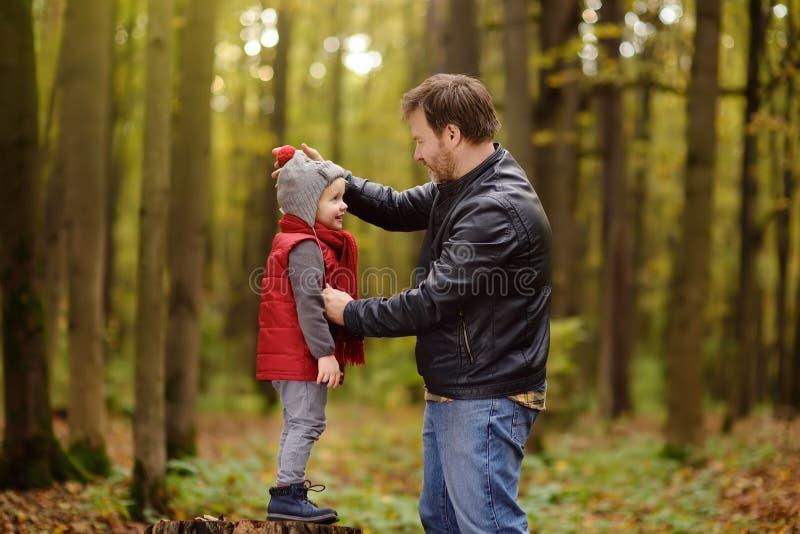 Rapaz pequeno com seu pai durante a caminhada na floresta foto de stock