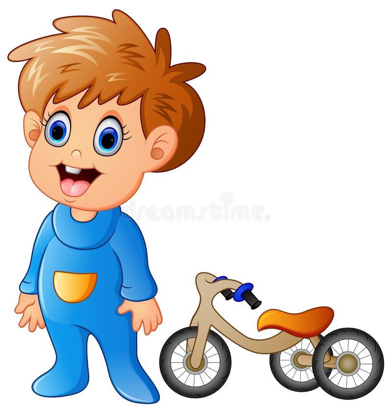 Rapaz pequeno com sua bicicleta ilustração royalty free