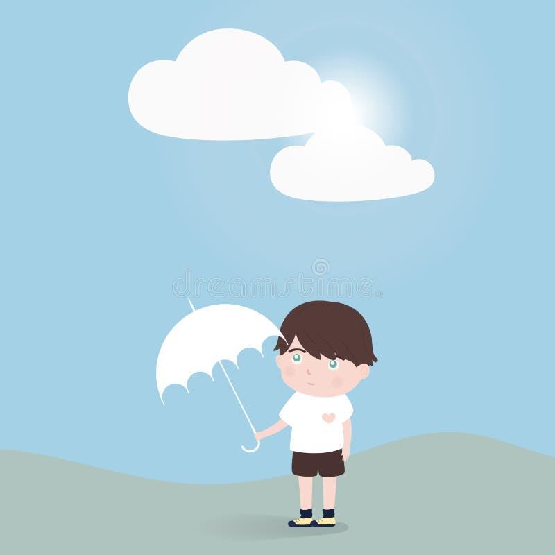 Rapaz pequeno com suporte de guarda-chuva apenas ilustração stock