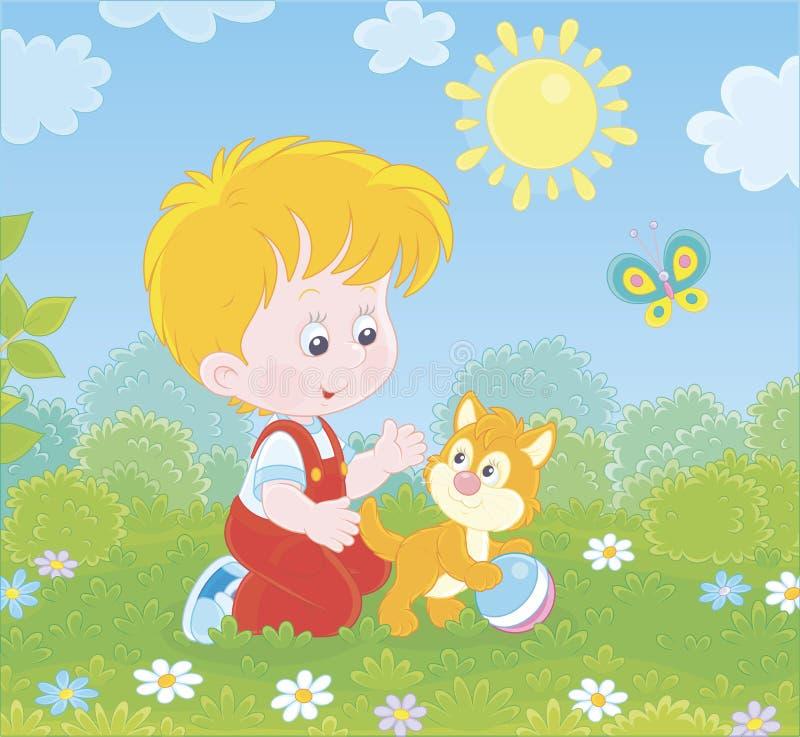 Rapaz pequeno com um gatinho em um gramado ilustração do vetor