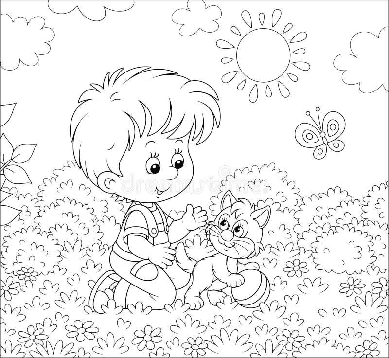 Rapaz pequeno com um gatinho em um gramado ilustração royalty free