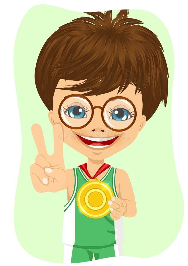 Rapaz pequeno com uma primeira medalha do lugar ilustração royalty free