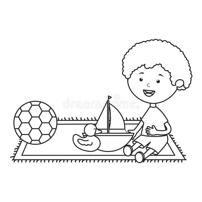 Rapaz pequeno com veleiro e ducky bonitos ilustração stock