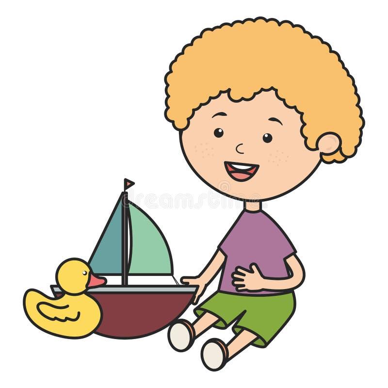 Rapaz pequeno com veleiro e ducky bonitos ilustração do vetor