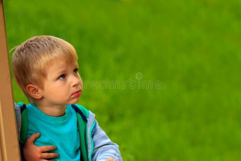 Rapaz pequeno curioso no parque imagem de stock