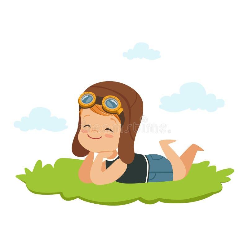 Rapaz pequeno doce no capacete dos pilotos que encontra-se em seu estômago em uma grama e que sonha, na imaginação das crianças e ilustração do vetor