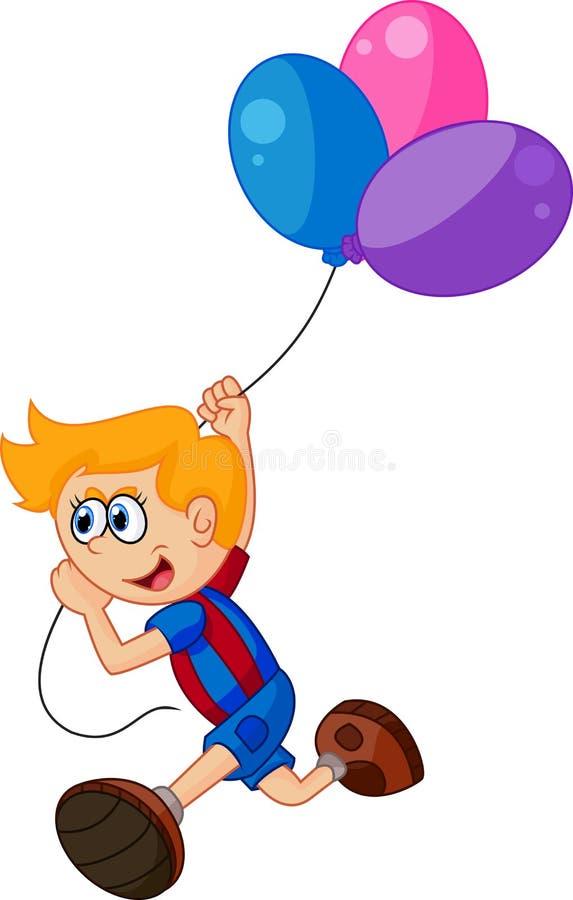 Rapaz pequeno dos desenhos animados que guarda o balão ilustração stock