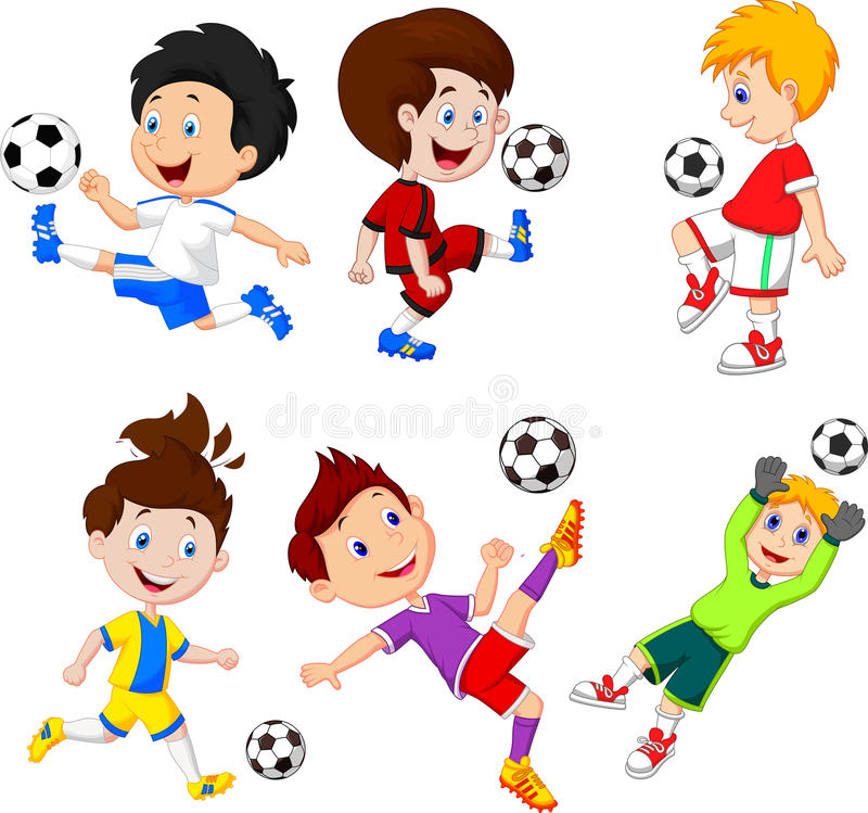 Rapaz pequeno dos desenhos animados que joga o futebol ilustração do vetor