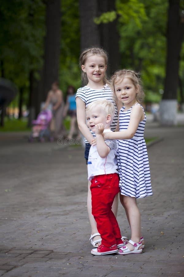 Rapaz pequeno e dois primos mais idosos, encontrando-se no parque do verão fotografia de stock