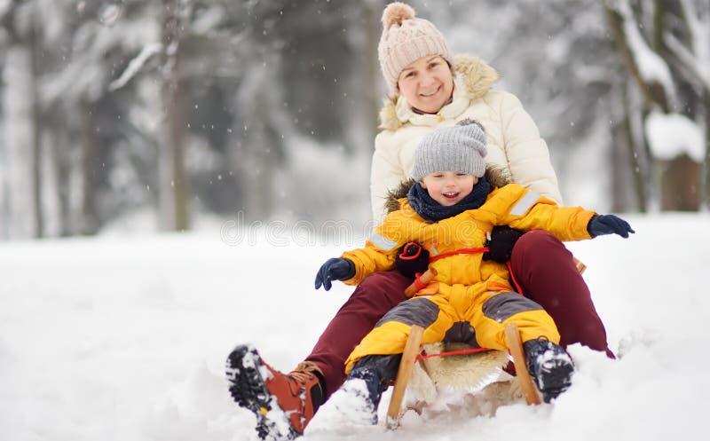 Rapaz pequeno e mãe/avó/baby-sitter que desliza no parque durante uma queda de neve fotos de stock royalty free