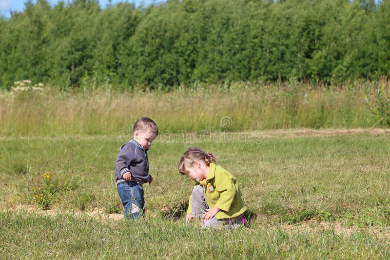 Rapaz pequeno e menina paly na grama no prado verde fotos de stock