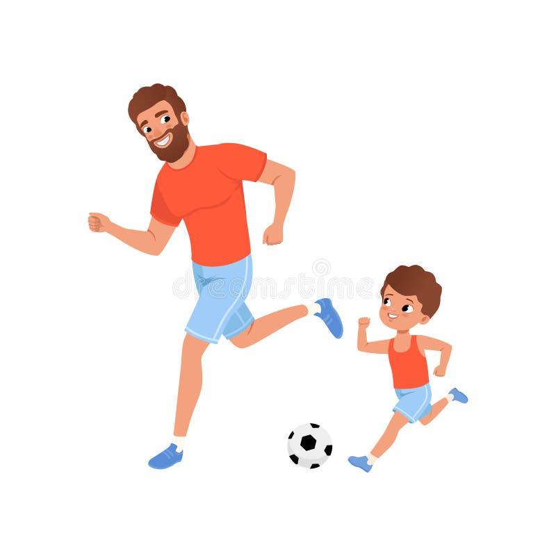Rapaz pequeno e seu pai que jogam o futebol no campo de jogos Atividade ao ar livre Conceito da paternidade Família desportiva Fi ilustração do vetor