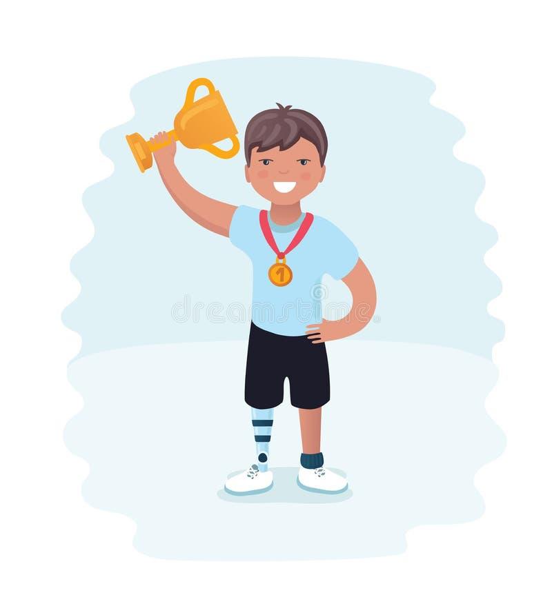 Rapaz pequeno em prótese Atleta deficiente do corredor novo em um fundo branco Atleta em prótese, Paralympic do estilo dos desenh ilustração do vetor