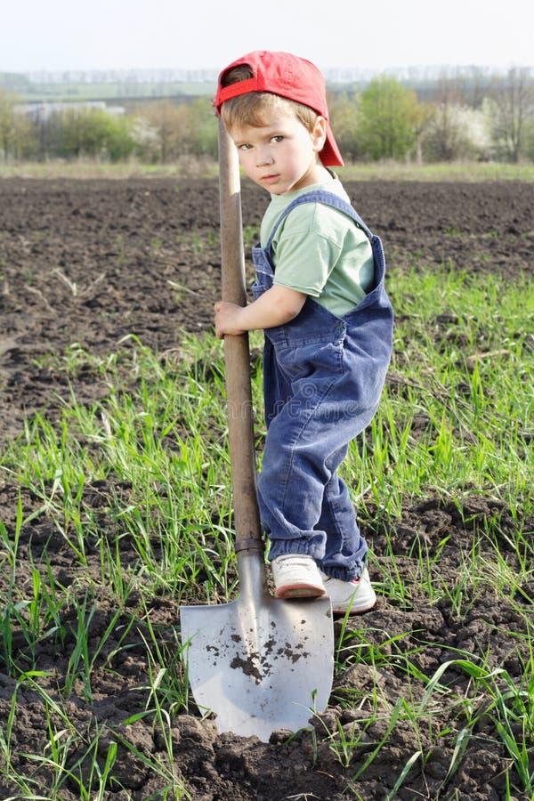 Rapaz pequeno a escavar no campo foto de stock