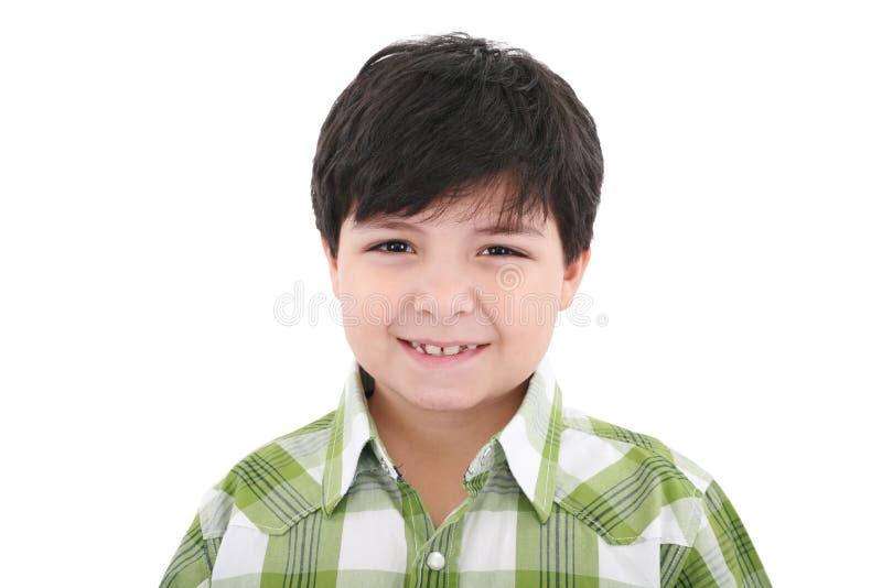 Rapaz pequeno feliz de sorriso bonito isolado fotografia de stock royalty free
