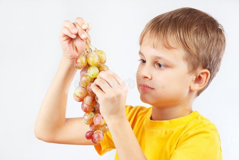 Download Rapaz Pequeno Na Camisa Amarela Que Come Uma Uva Madura Imagem de Stock - Imagem de alimento, considerável: 65575077