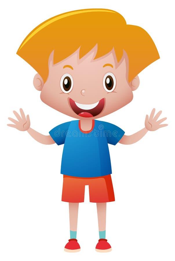 Rapaz pequeno na camisa azul ilustração do vetor